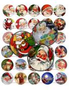 60 Precut 2.5cm CHRISTMAS VINTAGE SANTA CLAUS Bottle Cap Images A