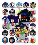 60 Precut 2.5cm CHRISTMAS CHARLIE BROWN Bottle Cap Images A
