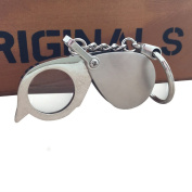 Gifts for the Elderly and Kids 6x 20mm Folding Portable Pocket Magnifying for Reading Key Ring Meatal Magnifier