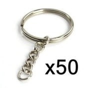 vanki Blue Elf 50pcs 25mm Split Key Chain Ring W/ 25mm Chain with Free Cable organiser