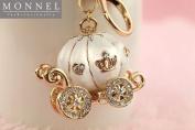 vanki Cute Big White Princess Pumpkin Carriage Crystal Charm Keychain Key Ring