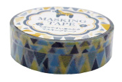 Amifa Japan Collection Folk Nordic Masking Deco Tape Standard Blue Yellow Combination.