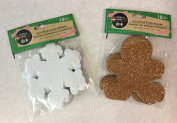 Christmas Glitter Foam Shapes - Snowflake (10) & Gingerbread Cookie (10) - 20 Count