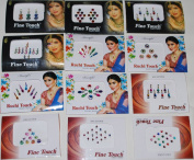 Pack of 15 Bollywood Reusuable Indian Bindi Head Stickers/dots/tattoo