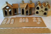 SET of 3 VILLAGE Putz Style Houses - Vintage Village/Vintage 3 Roofs/Vintage House with Flicker Light Hole