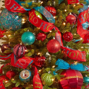 Christmas Premium Wired Ribbon Ho Ho Ho! On Red Satin 6.4cm
