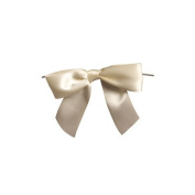 Harvest Imports 12 Pack of 7.6cm Ivory Satin Pre-tied Bow with Wire Twist Included