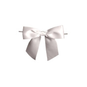 Harvest Imports 12 Pack of 7.6cm White Satin Pre-tied Bow with Wire Twist Included