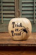 20cm White Trick Or Treat Pumpkin