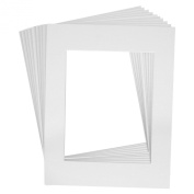 Mat Board Centre Premier High Quality Acid-Free Pre-Cut 16x20 White Picture Mat Sets. Includes a Pack of 10 White Core Bevel Cut Mattes for 11x14 Photos, Pack of 10 Backers & Pack of 10 Clear Bags