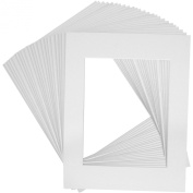 Mat Board Centre Premier High Quality Acid-Free Pre-Cut 11x14 White Picture Mat Sets. Includes a Pack of 25 White Core Bevel Cut Matte for 8x10 Photos, Pack of 25 Backers and 25 Clear Bags