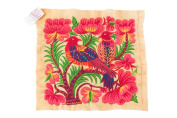 Pretty Hill Tribe Embeoidered Yellow Big Birds Hmong Textile Fair Trade