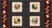 In the Beginning 'Roosters' Panels and Double Border on Black Cotton Fabric