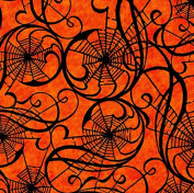 In the Beginning 'Hallowgraphix Brights' Webs on Orange Cotton Fabric