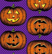 In the Beginning 'Hallowgraphix Brights' Pumpkins on Purple Cotton Fabric