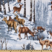 1/2 Yard - Snowy Deer Scenic Cotton Fabric (Great for Quilting, Sewing, Craft Projects, Quilts, Throw Pillows & More) 1/2 Yard X 110cm Wide