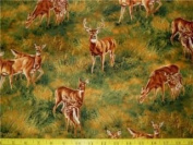 1 Yard - Whitetail Deer Scenic Cotton Fabric (Great for Quilting, Sewing, Craft Projects, Quilts, Throw Pillows & More) 1 Yard X 110cm Wide