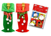 Christmas Inspired Fabric Scarf Wine Bottle Gift Bags Assorted Between Green and Red! Plus Bonus 3D Christmas Gift Tags!