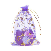 100 Pcs Love Heart Organza Drawstring Pouches Candy Gift Bags Jewellery Bags for Wedding Favour 13cm X 18cm