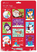 Luxury Silver Foiled Colourful Christmas Gift Tags - Cute - Pack of 50 - 10 Assorted Designs with Metallic Silver Thread
