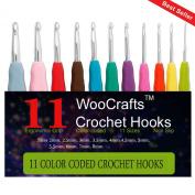 .  11pcs Crochet Hook Set,Ergonomic Grip Crochet Hooks Kit,With Plastic Crochet Hook Case Organiser,Comfort Grips Crochet Needles Sizes 2mm,2.5mm,3mm,3.5mm,4mm,4.5mm,5mm,5.5mm,6mm,7mm & 8mm