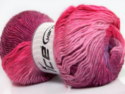 Lot of 4 x 100gr Skeins ICE YARNS Primadonna Pink Shades Maroon Lilac