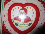 It's Christmas Counted Cross Stitch Heart Shaped Kit ... Victorian Heart Frame, 14 Count Even Weave Fabric, DMC Floss, Eyelet Lace Trim, Polyfill Batting, Needle, Instructions