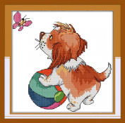 AngelGift Needlecrafts Stamped Counted Cross Stitch Set, Animal - Butterfly Puppy Play Ball