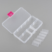 ASTRQLE Hard Plastic Clear Adjustable 10 Compartment Slots Jewellery Parts Box Storage Container Case