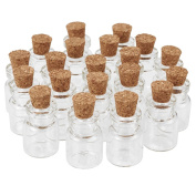 Pandahall 20pcs 22x15mm Clear Tampions Glass Wishing Bottles Vials with Cork Bead Containers