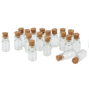 Pandahall 20pcs Clear Tampions Glass Wishing Bottles Vials with Cork, Bead Containers