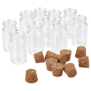 Pandahall 10pcs 40x22mm Clear Tampions Glass Wishing Bottles Vials with Cork Bead Containers