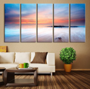Large Wall Art Canvas Beach and Sea - Ocean Seascape 5 Panel Large Wall Art - 150cm x 80cm Total