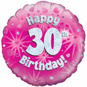 Oaktree 46cm Happy 30th Birthday Pink Holographic Balloon (One Size)