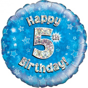 Oaktree 46cm Happy 5th Birthday Blue Holographic Balloon (One Size)