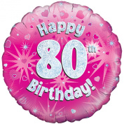 Oaktree 46cm Happy 80th Birthday Pink Holographic Balloon (One Size)