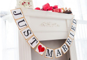 AllHeartDesires 1 Set Just Married Wedding Bunting Banner Rustic Bridal Shower Party Decoration