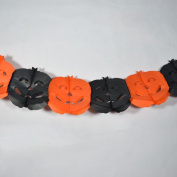 Quasimoon Black and Orange Pumpkin Halloween Garland Banner (2.7m) by PaperLanternStore