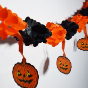 Quasimoon Black and Orange Small Pumpkin Halloween Garland Banner (3m) by PaperLanternStore