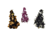 Set of (3) Halloween Tinsel Trees - Ghosts, Bats and Pumpkins
