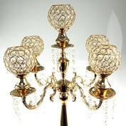 Candelabra Crystal Globe Centrepiece, 5 Arm, Gold