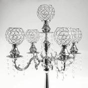 Candelabra Crystal Globe Centrepiece, 5 Arm, Silver