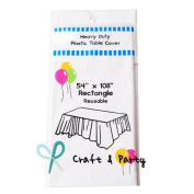 (12-pack) Heavy Duty Plastic Table Covers Tablecloth (Reusable)