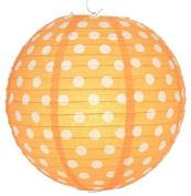 Orange Polka Dot Lantern - 36cm - Set of 2