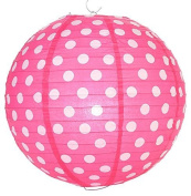 Fuchsia Polka Dot Lantern - 36cm - Set of 2