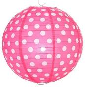 Fuchsia Polka Dot Lantern - 36cm - Set of 2
