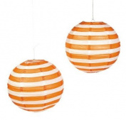 Orange Striped Paper Lantern - 30cm - Set of 2