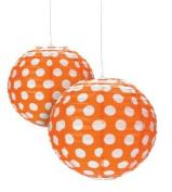 Orange Polka Dot Paper Lantern - 30cm - Set of 2