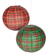 Red & Green Plaid Paper Lantern - 30cm - Set of 2
