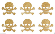 24 Gold Skull Bones Self Adhesive Glitter Stickers Card making craft diy 2.5cm